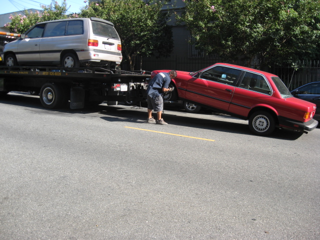 My car being hauled off to ultimately help someone in need...