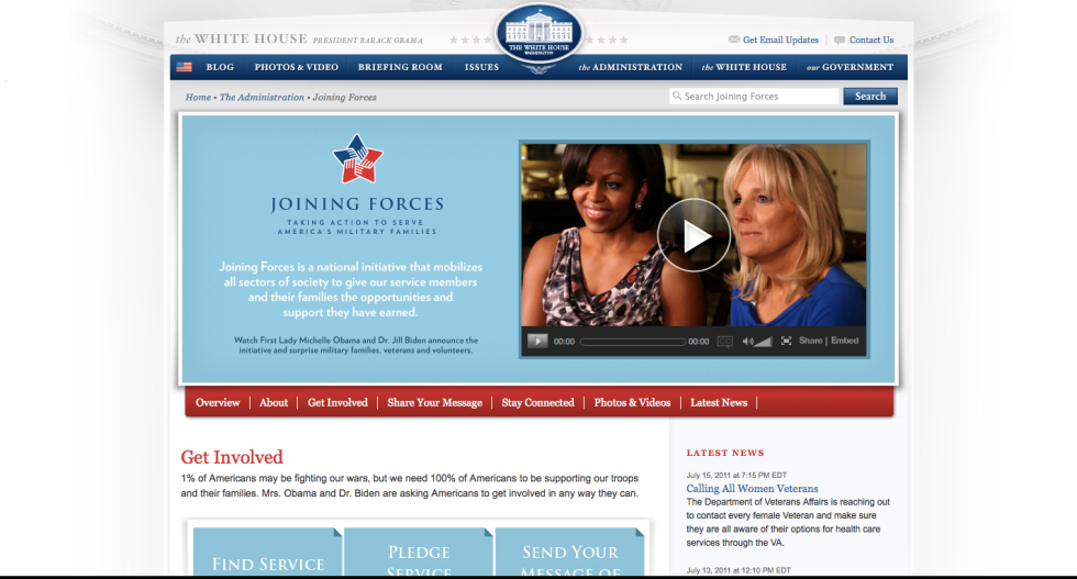 FLOTUS Michelle Obama Joining Forces website