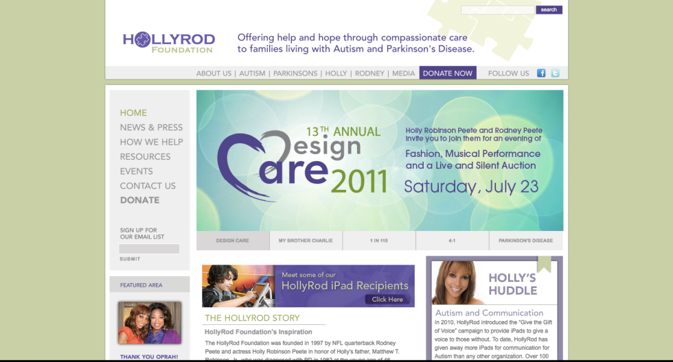 Holly Robinson Peete HRF website